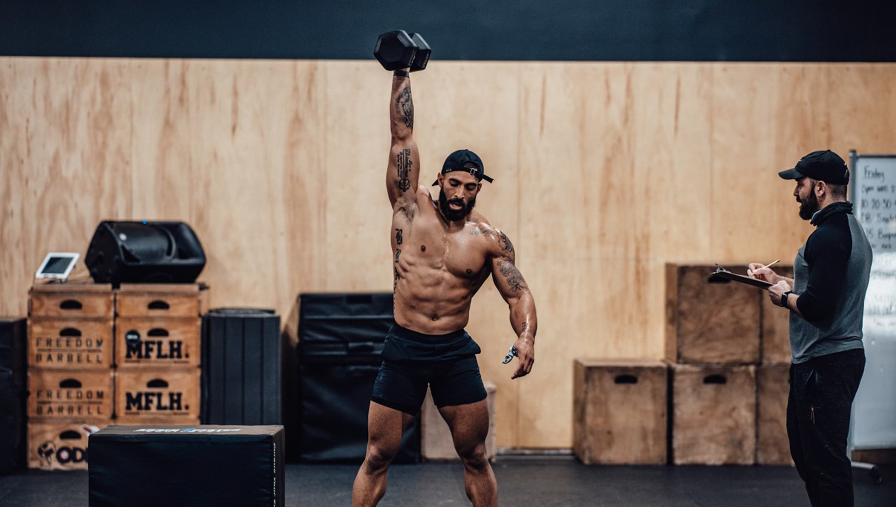 Christian Harris performs CrossFit Open workout 21.2, and tracks his heart rate and other biometric data with WHOOP.